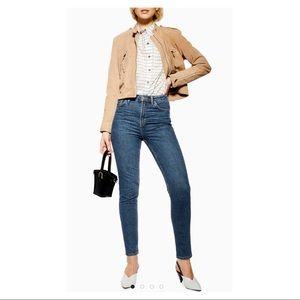 Topshop High Rise Orson Fit Slim Leg Blue Jeans